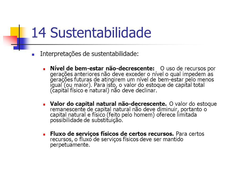 14 Sustentabilidade Interpretações de sustentabilidade: