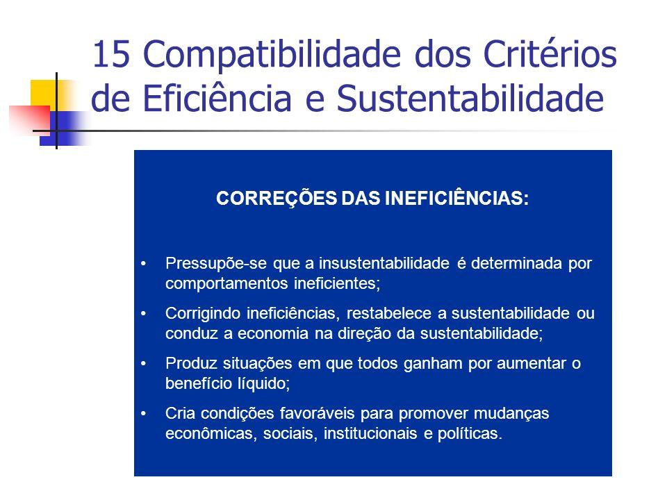 15 Compatibilidade dos Critérios de Eficiência e Sustentabilidade