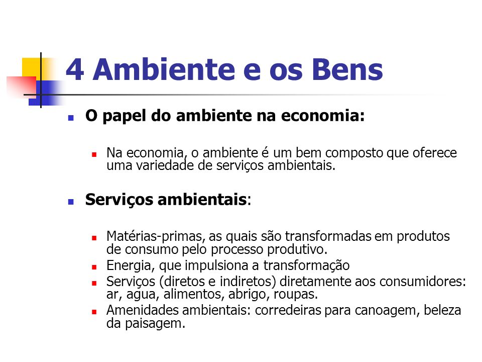 4 Ambiente e os Bens O papel do ambiente na economia:
