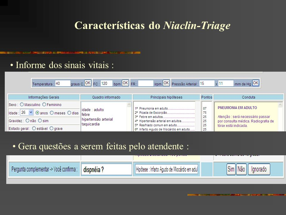 Características do Niaclin-Triage