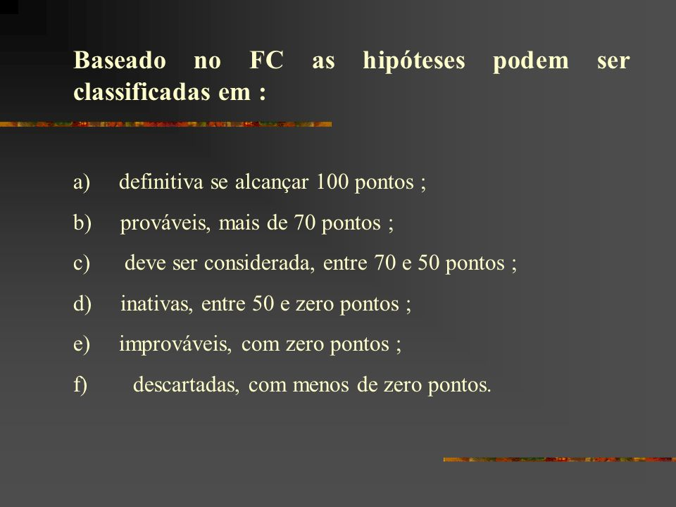 Baseado no FC as hipóteses podem ser classificadas em :