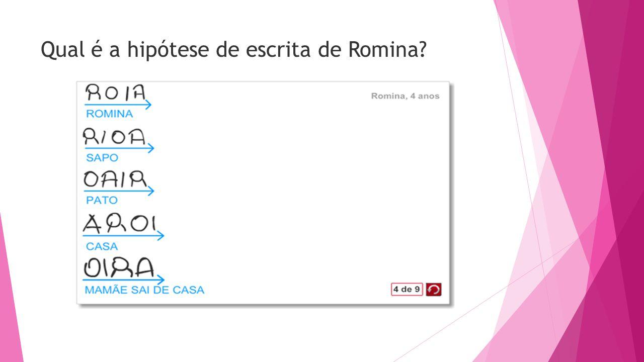 Qual é a hipótese de escrita de Romina