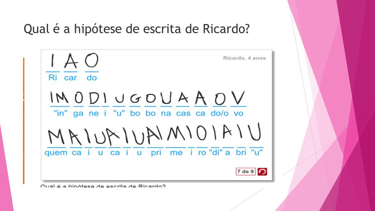 Qual é a hipótese de escrita de Ricardo