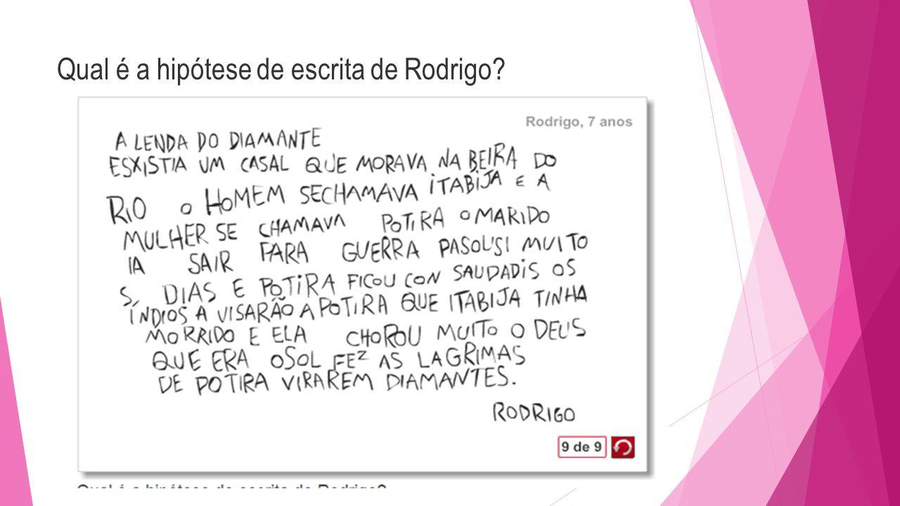 Qual é a hipótese de escrita de Rodrigo