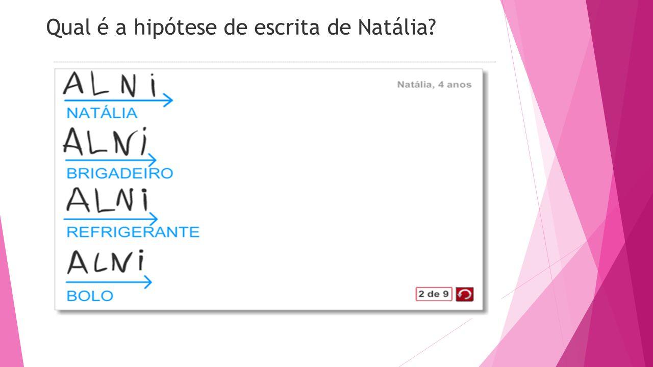 Qual é a hipótese de escrita de Natália
