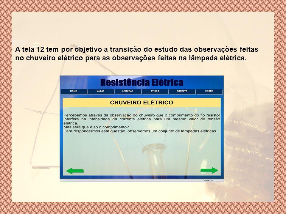A tela 12 tem por objetivo a transição do estudo das observações feitas no chuveiro elétrico para as observações feitas na lâmpada elétrica.