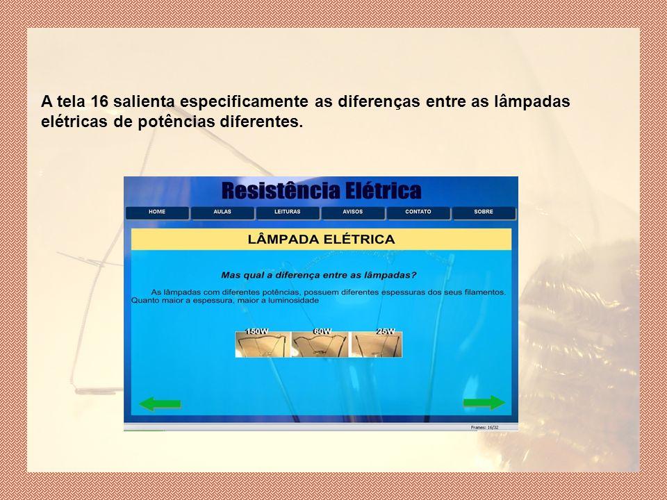 A tela 16 salienta especificamente as diferenças entre as lâmpadas elétricas de potências diferentes.
