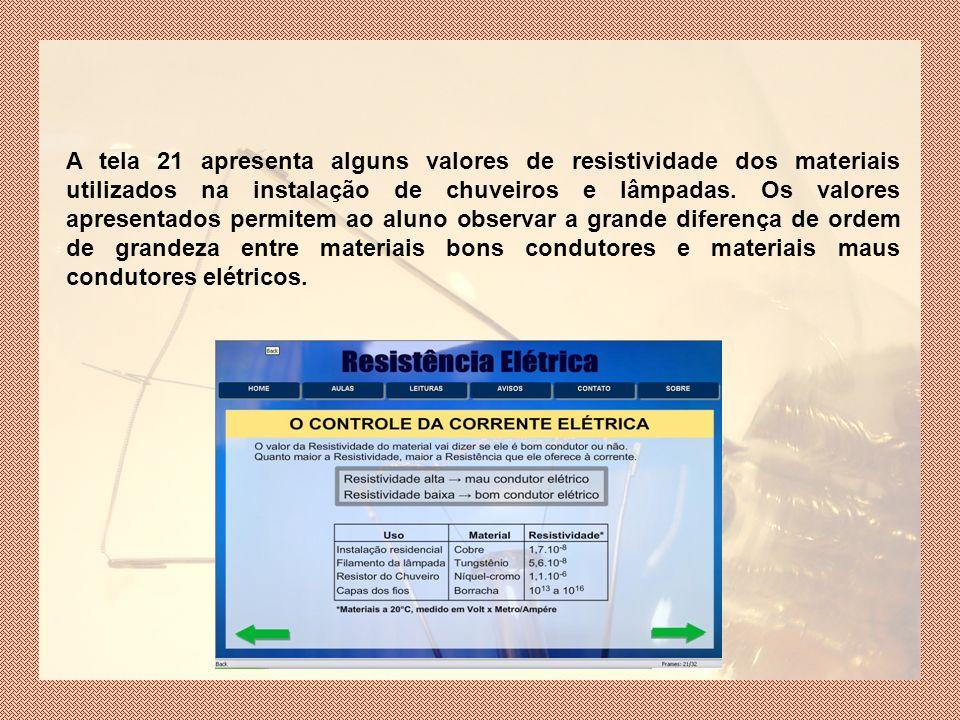 A tela 21 apresenta alguns valores de resistividade dos materiais utilizados na instalação de chuveiros e lâmpadas.