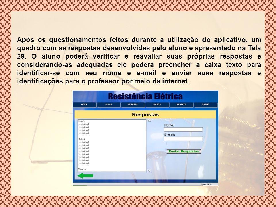 Após os questionamentos feitos durante a utilização do aplicativo, um quadro com as respostas desenvolvidas pelo aluno é apresentado na Tela 29.