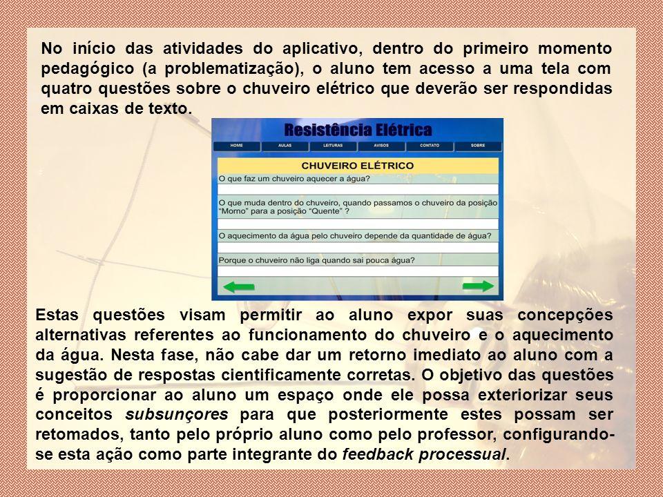 No início das atividades do aplicativo, dentro do primeiro momento pedagógico (a problematização), o aluno tem acesso a uma tela com quatro questões sobre o chuveiro elétrico que deverão ser respondidas em caixas de texto.