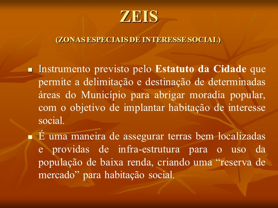 ZEIS (ZONAS ESPECIAIS DE INTERESSE SOCIAL)