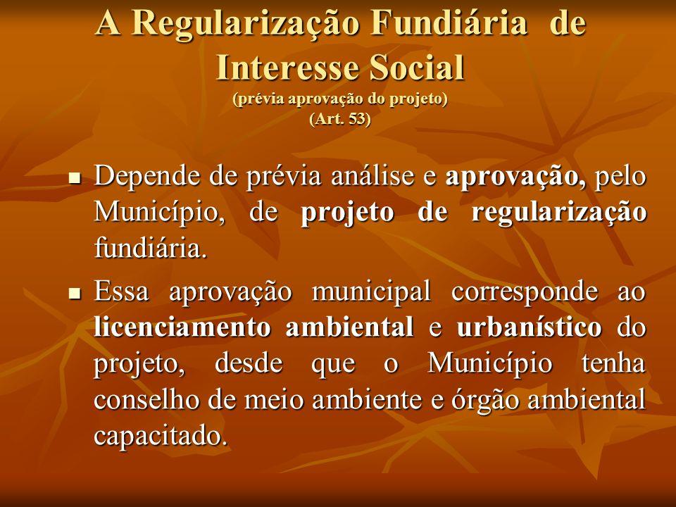 A Regularização Fundiária de Interesse Social (prévia aprovação do projeto) (Art. 53)