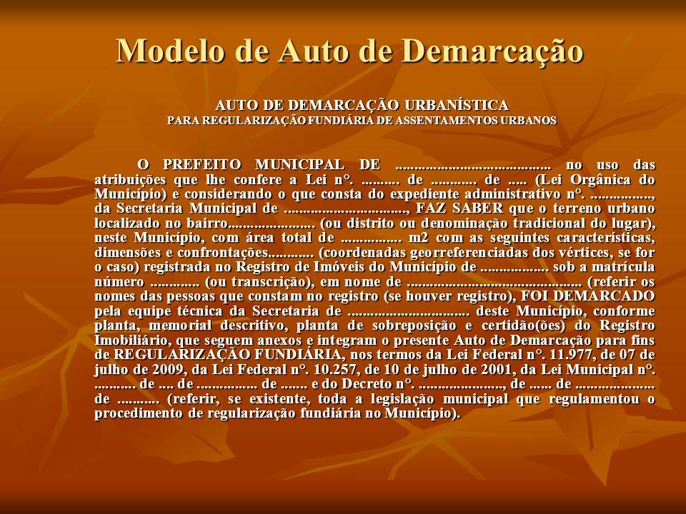 Modelo de Auto de Demarcação