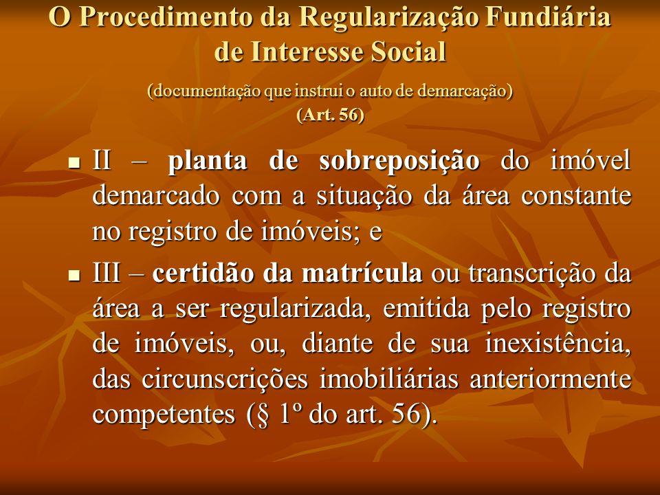 O Procedimento da Regularização Fundiária de Interesse Social (documentação que instrui o auto de demarcação) (Art. 56)