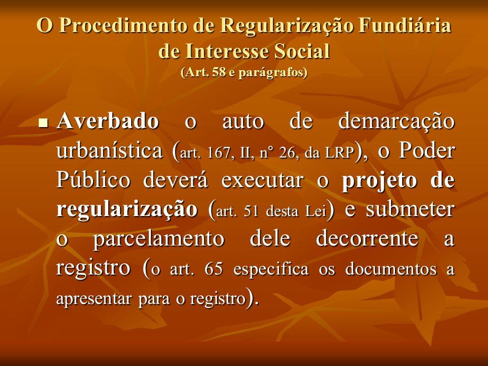 O Procedimento de Regularização Fundiária de Interesse Social (Art