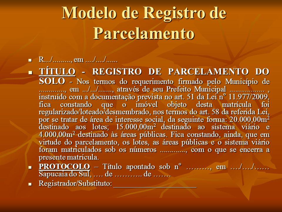 Modelo de Registro de Parcelamento