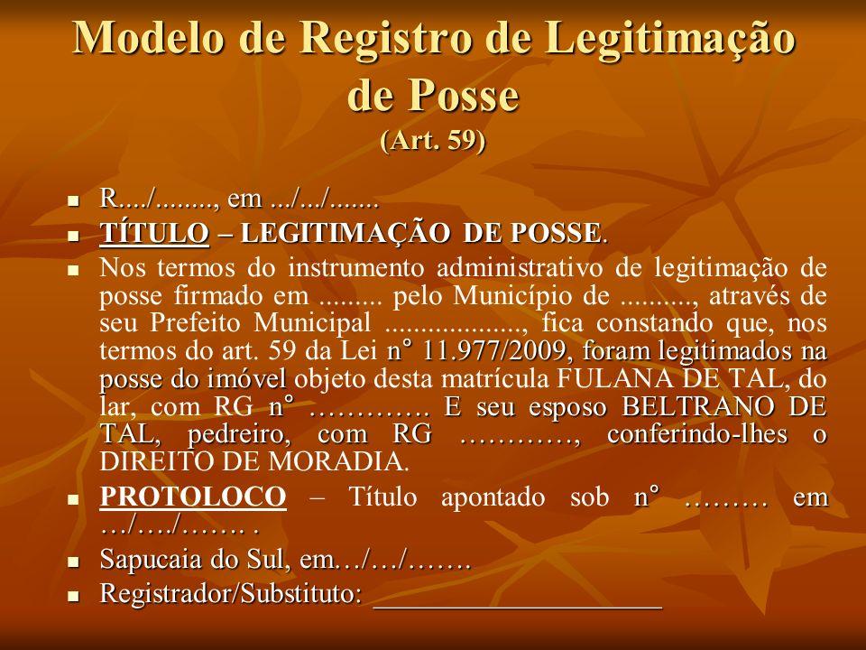 Modelo de Registro de Legitimação de Posse (Art. 59)