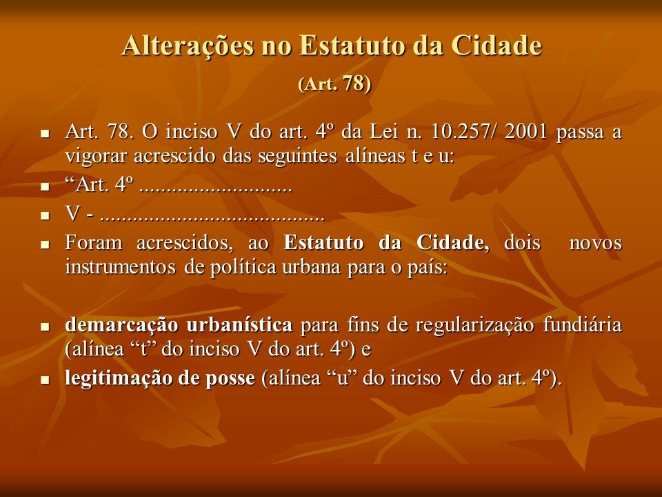 Alterações no Estatuto da Cidade (Art. 78)