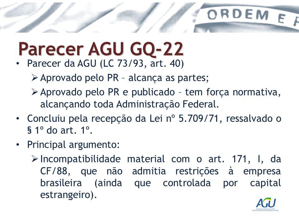 Parecer AGU GQ-22 Parecer da AGU (LC 73/93, art. 40)