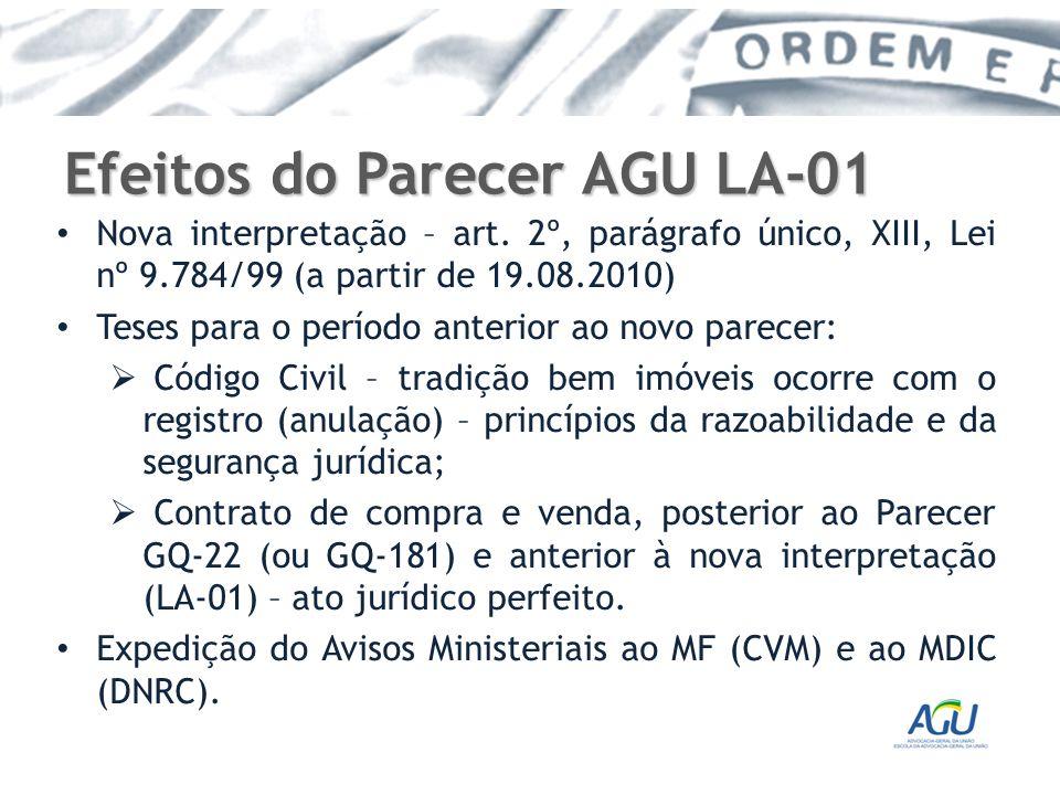 Efeitos do Parecer AGU LA-01