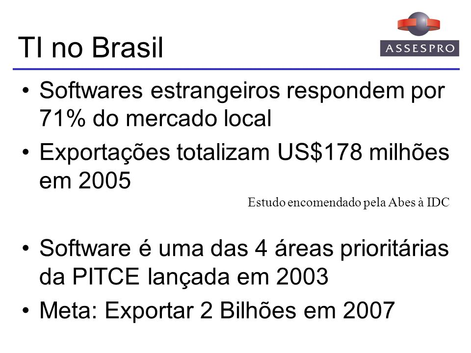 TI no Brasil Softwares estrangeiros respondem por 71% do mercado local