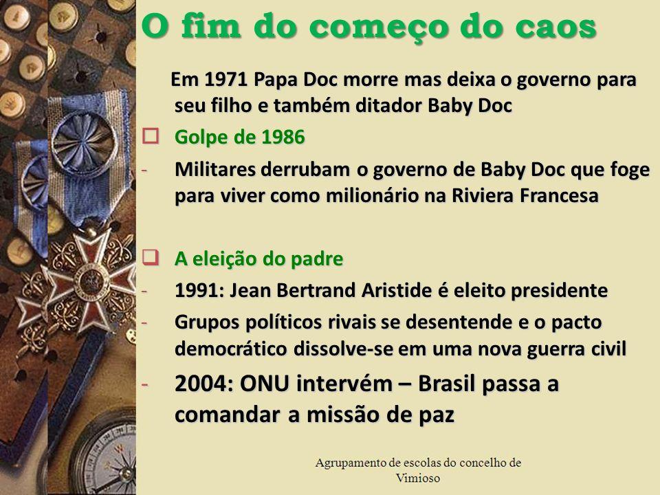 O fim do começo do caosEm 1971 Papa Doc morre mas deixa o governo para seu filho e também ditador Baby Doc.