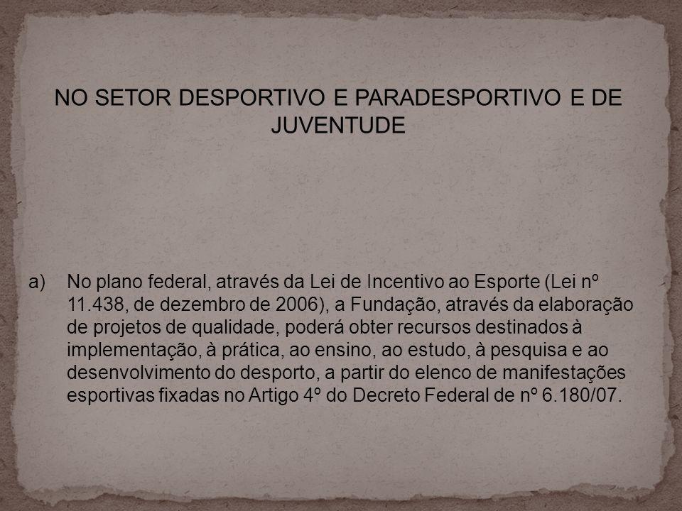 NO SETOR DESPORTIVO E PARADESPORTIVO E DE JUVENTUDE
