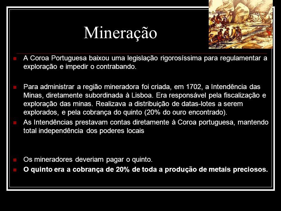 Mineração A Coroa Portuguesa baixou uma legislação rigorosíssima para regulamentar a exploração e impedir o contrabando.
