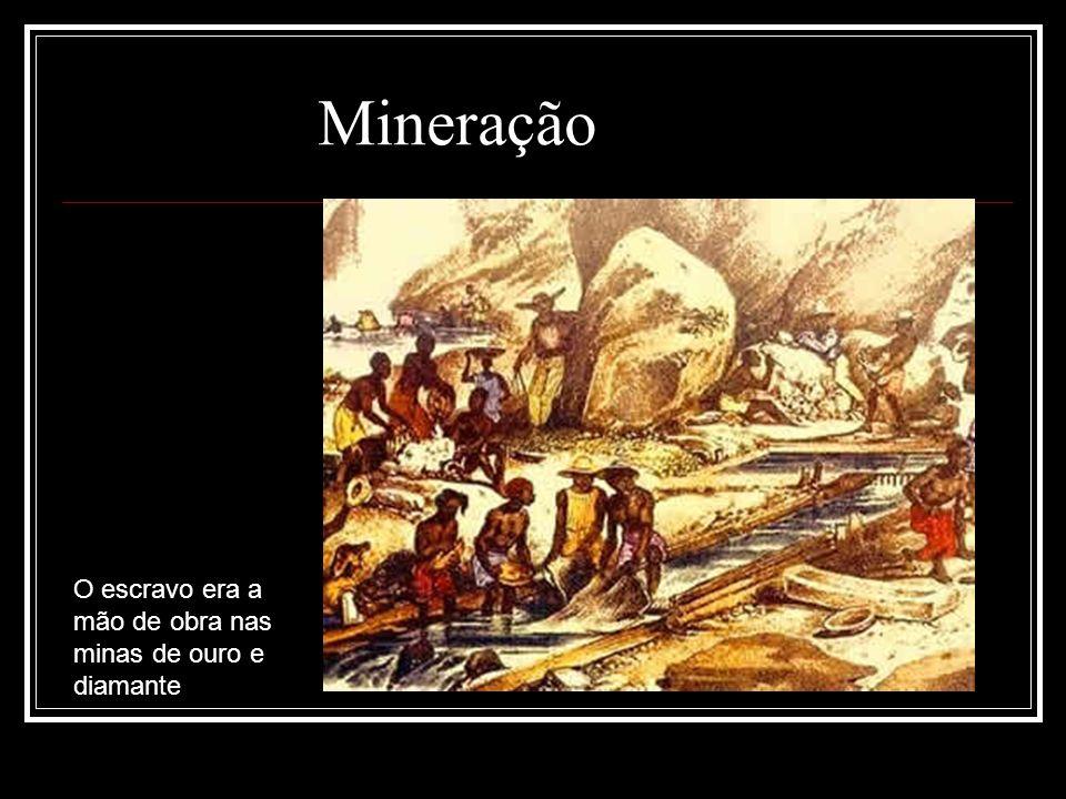 Mineração O escravo era a mão de obra nas minas de ouro e diamante