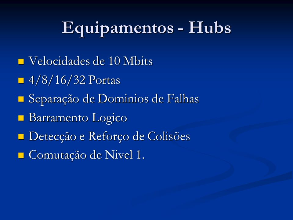 Equipamentos - Hubs Velocidades de 10 Mbits 4/8/16/32 Portas