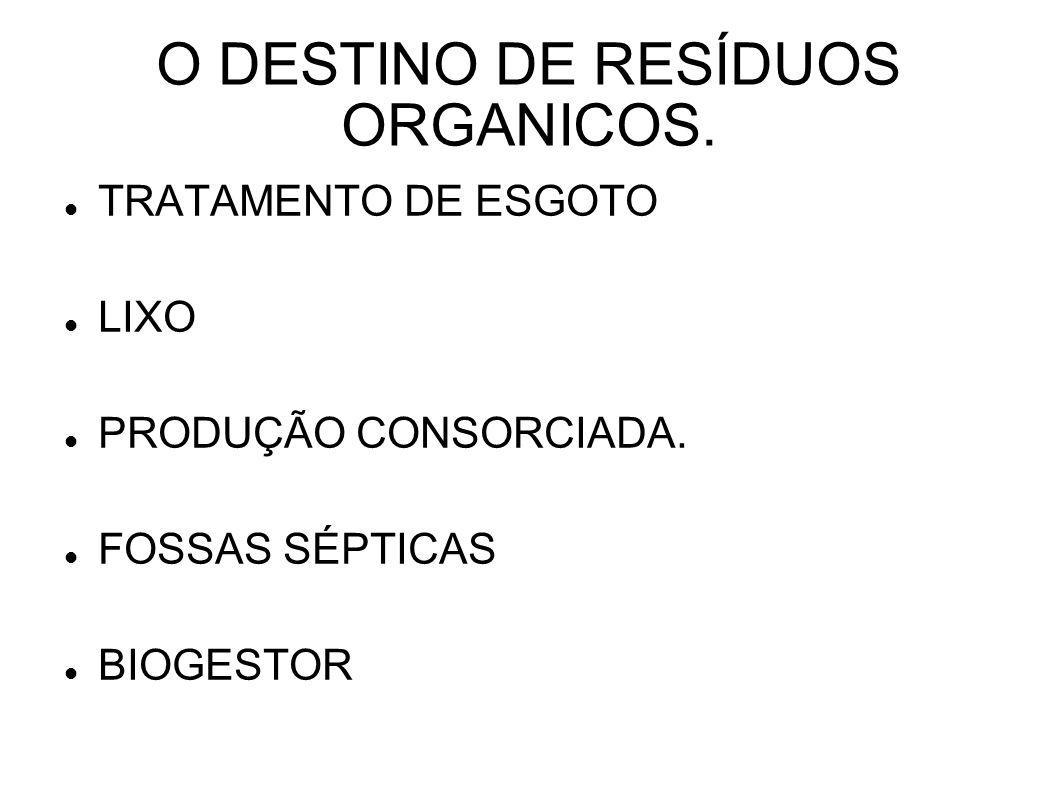 O DESTINO DE RESÍDUOS ORGANICOS.