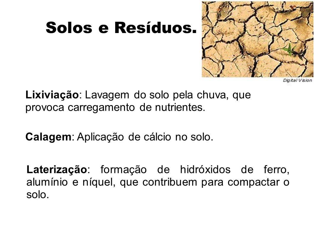 Solos e Resíduos. Lixiviação: Lavagem do solo pela chuva, que provoca carregamento de nutrientes. Calagem: Aplicação de cálcio no solo.