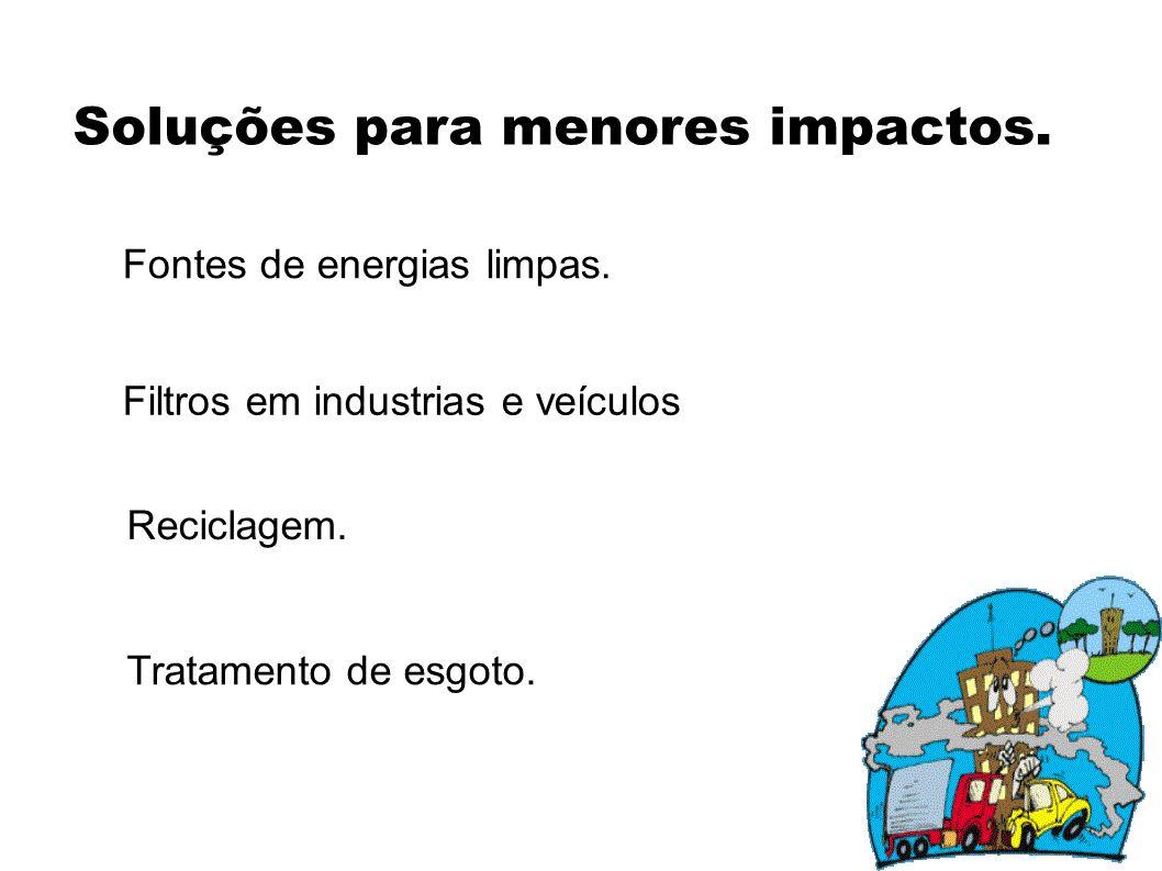 Soluções para menores impactos.