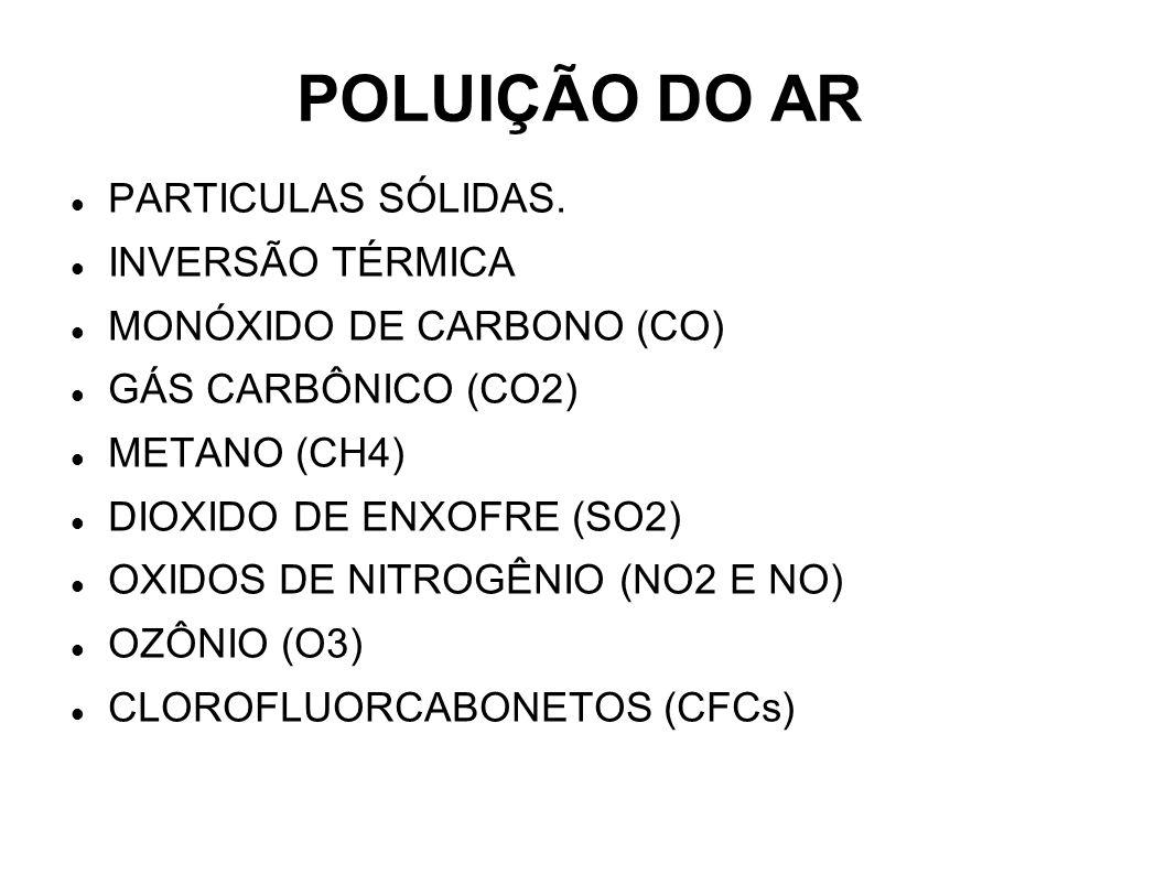 POLUIÇÃO DO AR PARTICULAS SÓLIDAS. INVERSÃO TÉRMICA