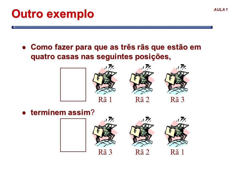 Outro exemplo Como fazer para que as três rãs que estão em quatro casas nas seguintes posições, terminem assim