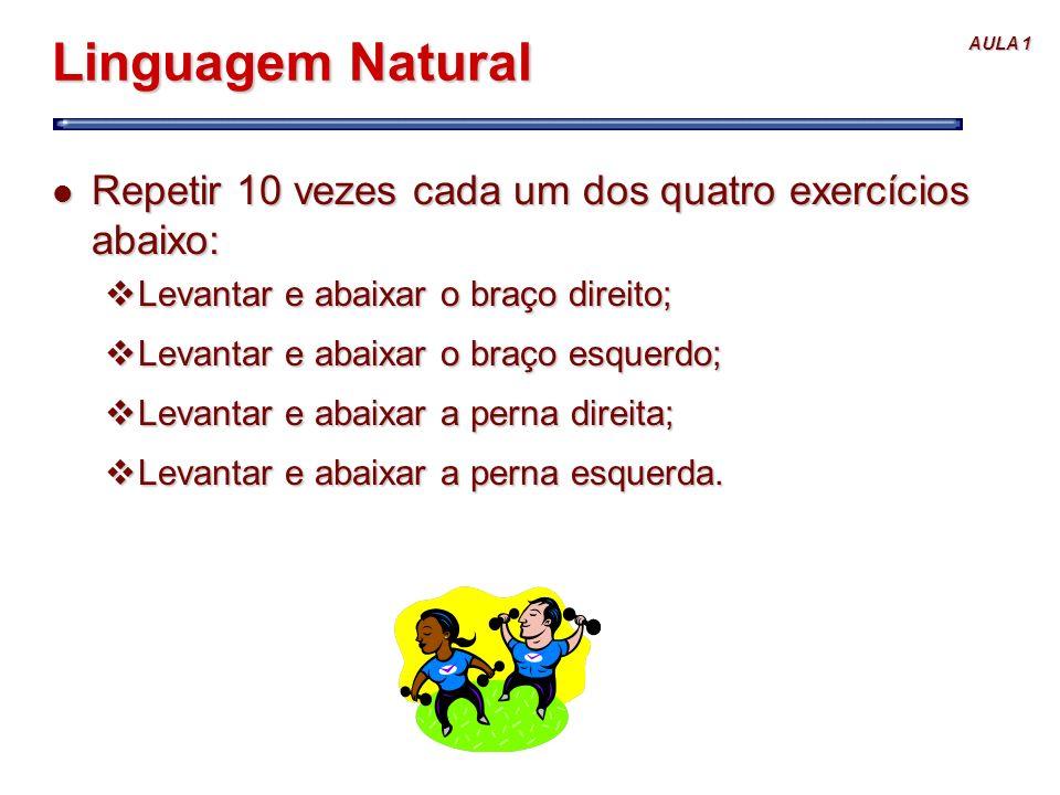 Linguagem Natural Repetir 10 vezes cada um dos quatro exercícios abaixo: Levantar e abaixar o braço direito;