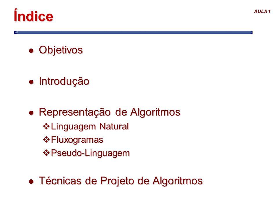 Índice Objetivos Introdução Representação de Algoritmos
