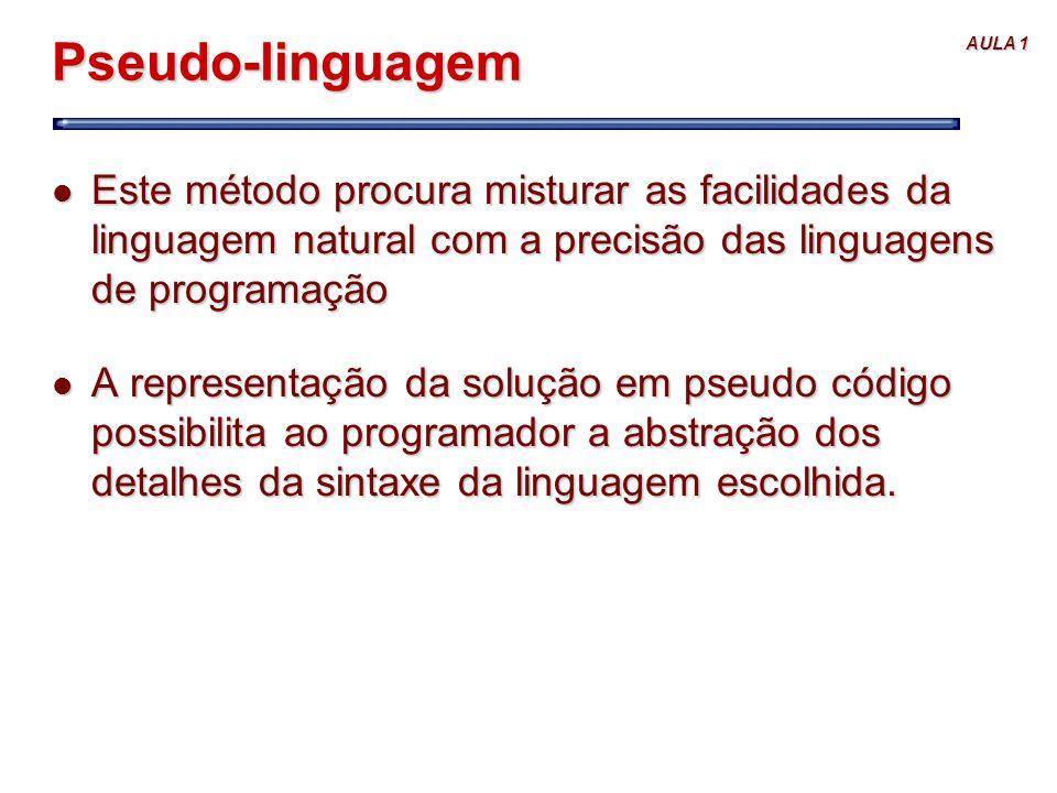Pseudo-linguagem Este método procura misturar as facilidades da linguagem natural com a precisão das linguagens de programação.