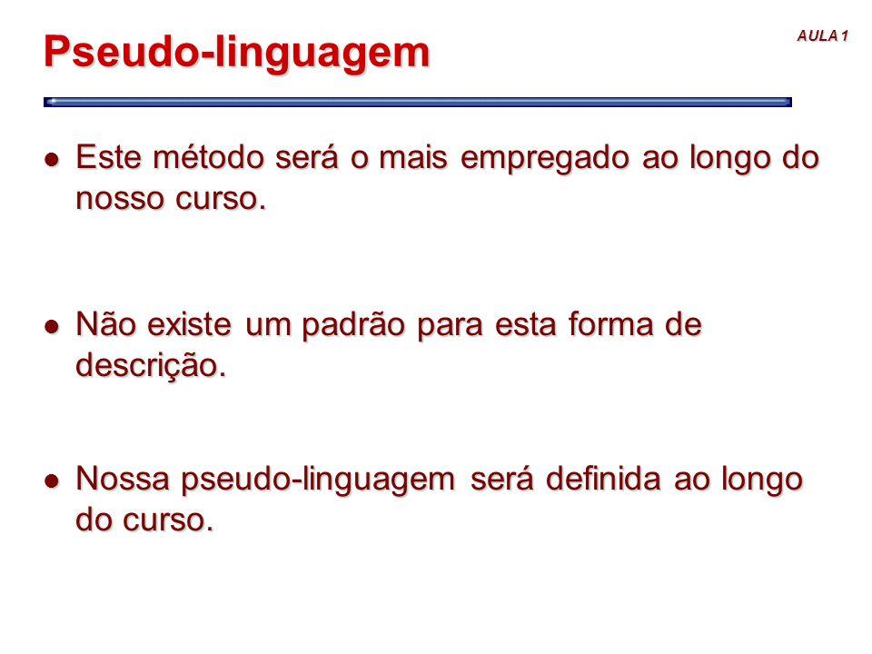 Pseudo-linguagem Este método será o mais empregado ao longo do nosso curso. Não existe um padrão para esta forma de descrição.