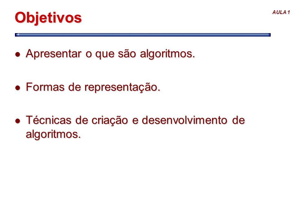 Objetivos Apresentar o que são algoritmos. Formas de representação.