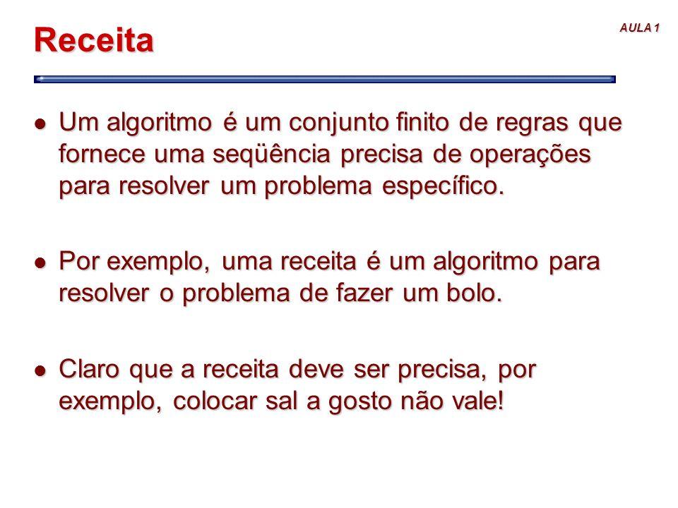 Receita Um algoritmo é um conjunto finito de regras que fornece uma seqüência precisa de operações para resolver um problema específico.