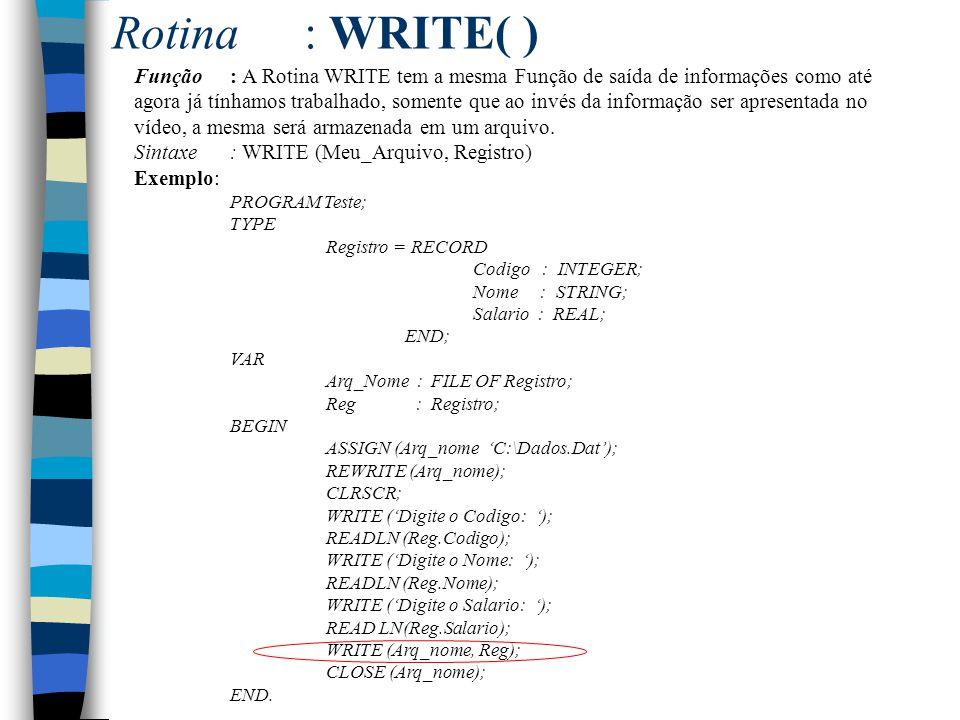 Rotina : WRITE( )