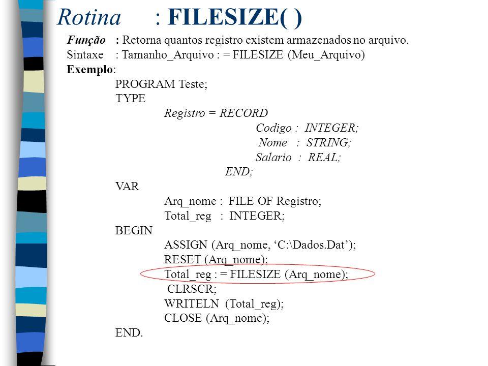 Rotina : FILESIZE( ) Função : Retorna quantos registro existem armazenados no arquivo. Sintaxe : Tamanho_Arquivo : = FILESIZE (Meu_Arquivo)