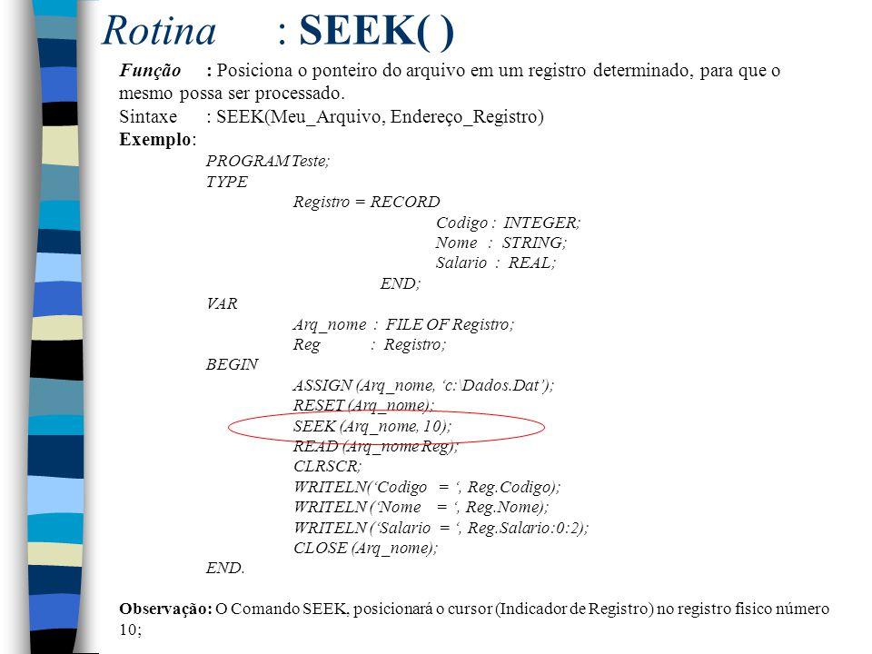Rotina : SEEK( ) Função : Posiciona o ponteiro do arquivo em um registro determinado, para que o mesmo possa ser processado.