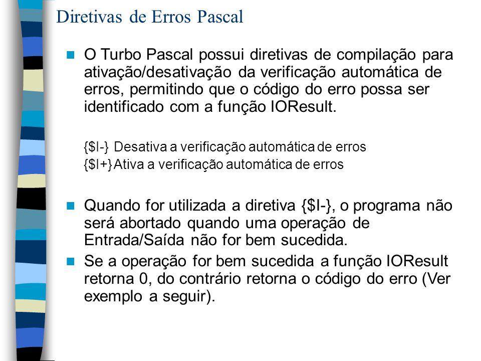 Diretivas de Erros Pascal