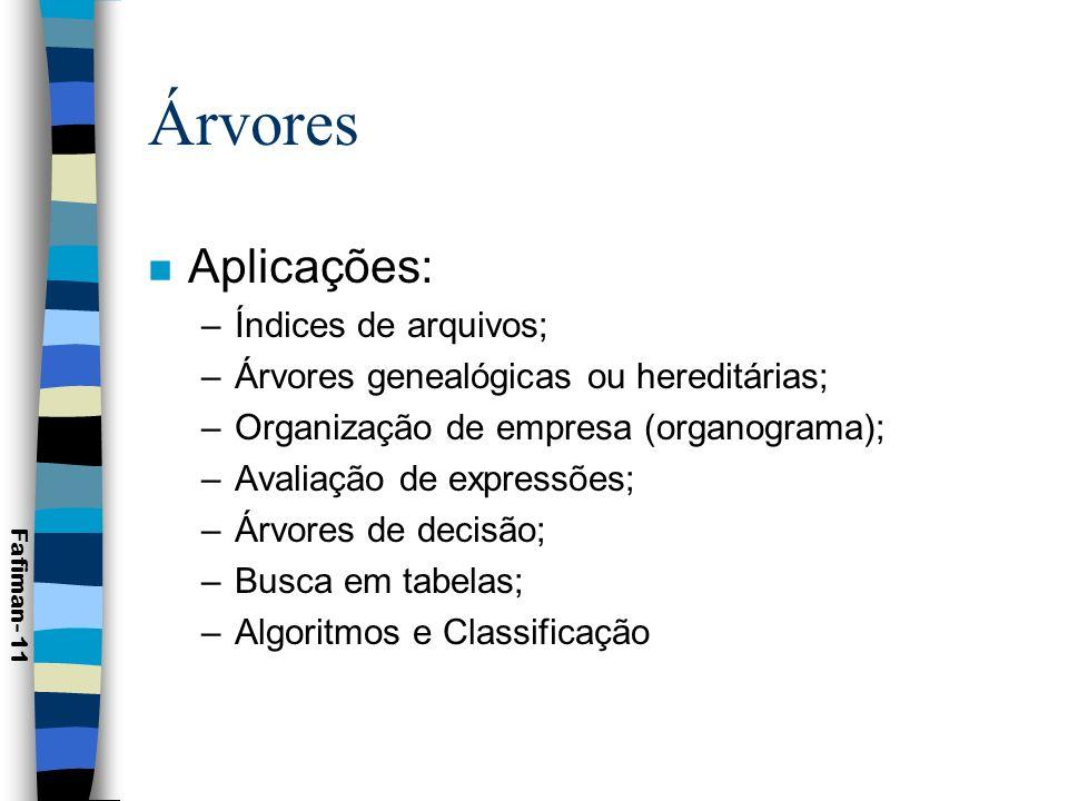 Árvores Aplicações: Índices de arquivos;