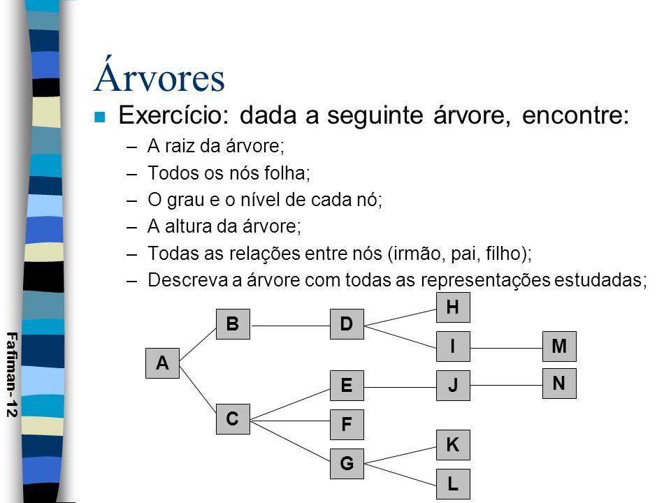 Árvores Exercício: dada a seguinte árvore, encontre: A raiz da árvore;