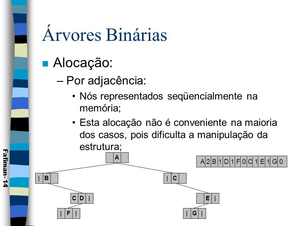 Árvores Binárias Alocação: Por adjacência:
