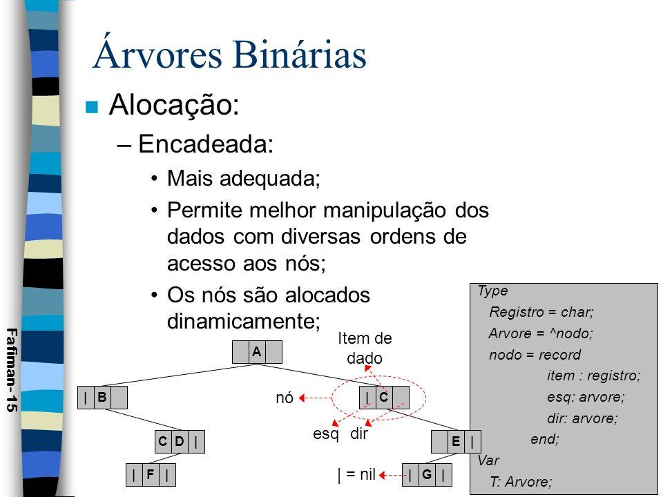 Árvores Binárias Alocação: Encadeada: Mais adequada;