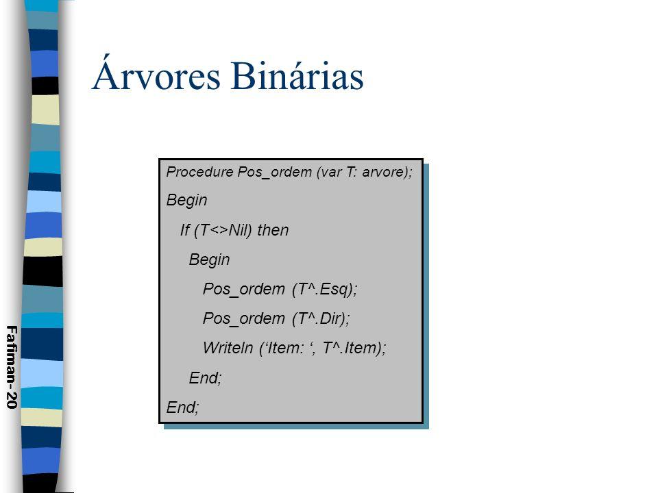 Árvores Binárias Begin If (T<>Nil) then Pos_ordem (T^.Esq);